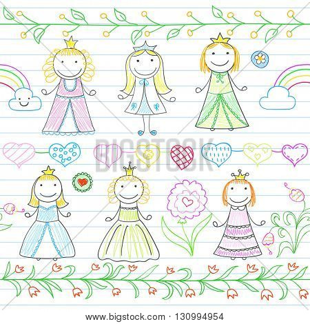Seamless background with borders in doodle style and happy little princesses. Sketch on notebook page