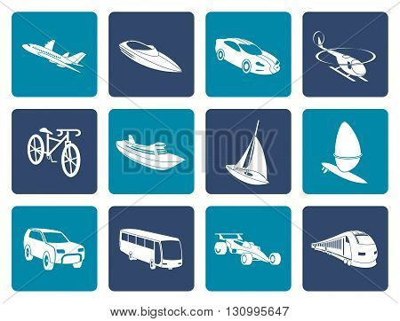 Flat different kind of transportation and travel icons - vector icon set