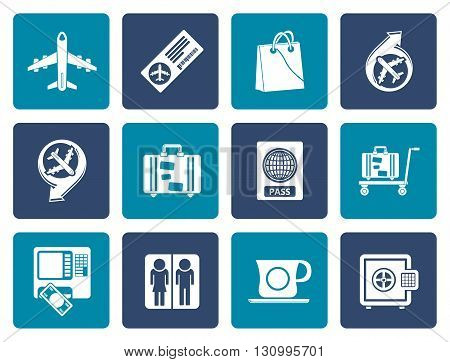 Flat airport, travel and transportation icons 1 - vector icon set