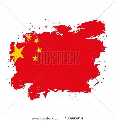 China  Flag Grunge Style On White Background. Brush Strokes And Ink Splatter. National Symbol Of Chi
