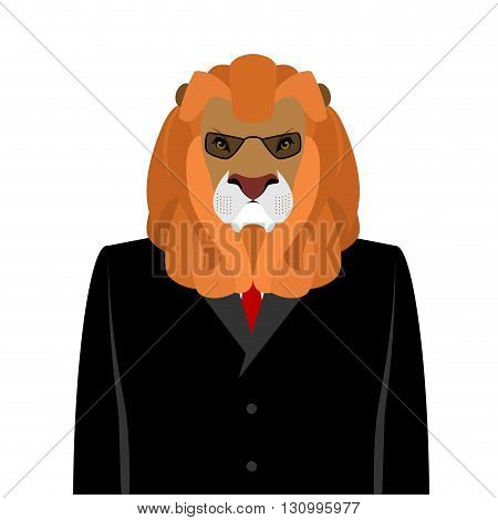 Lion Businessman In Black  Business Suit. Predator With Large Mane. Ferocious Wild Beast Director An