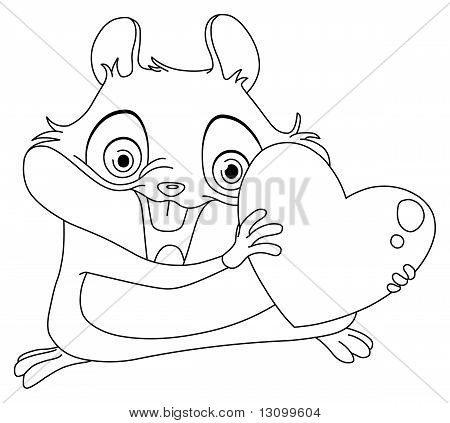 Outlined Hamster Holding Heart