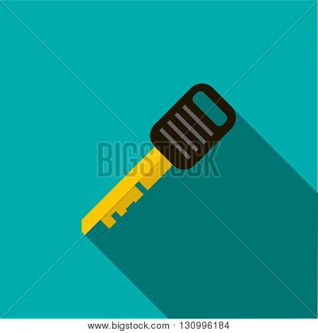 Car key icon in flat style on a turquoise background