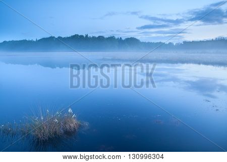 calm lake in misty dusk during spring