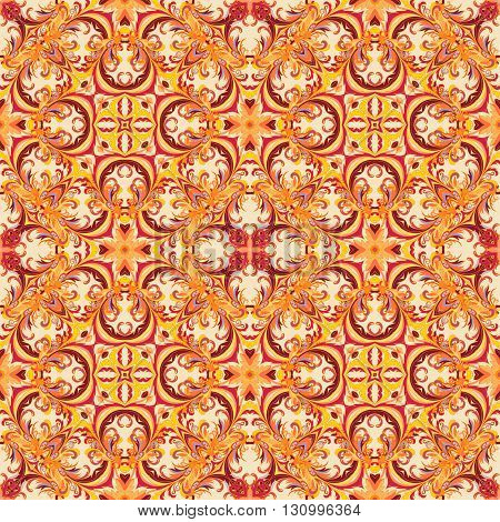 Baroque style floral wallpaper. Seamless vector pattern. Square tile. Bright orange red tone.