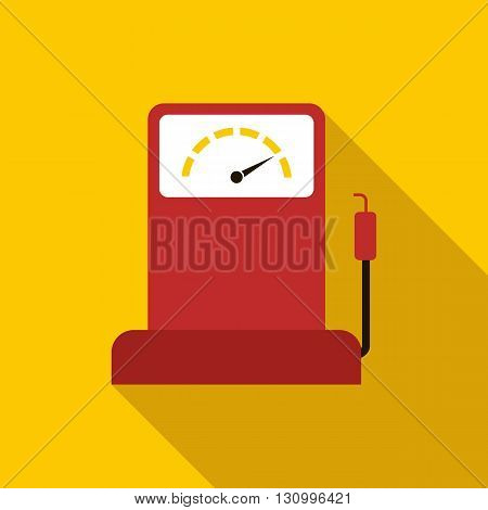 Gas station icon in flat style on a yellow background