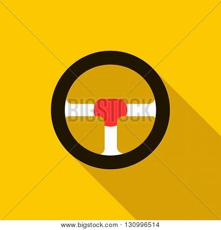 Steering wheel icon in flat style on a yellow background