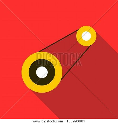 Timing belt icon in flat style on a red background