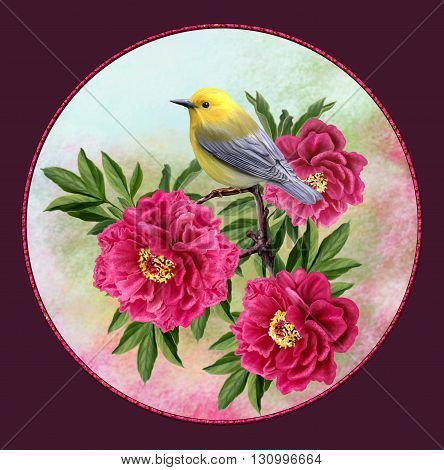 yellow bird on a branch red tree peonies