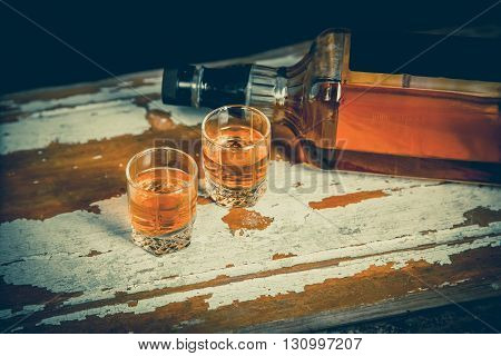 A Glass Of Whiskey And A Double Whiskey, A Bottle Of Whiskey