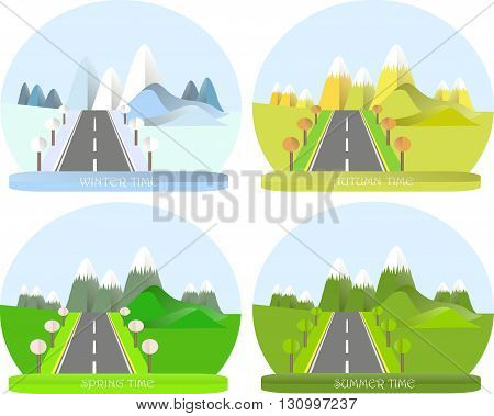 Series four seasons. Mountain landscape with road in winter, summer, autumn and spring time. Modern flat design, design element, vector