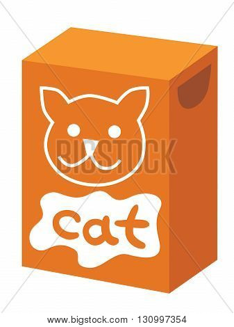 Vector drawing of a box with food for cats