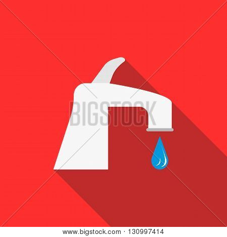 Water tap with drop icon in flat style on a red background