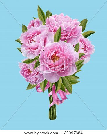 Bouquet of flowers. Peony pink. isolate, Bouquet of pink peonies. Floral background, illustration, greeting card