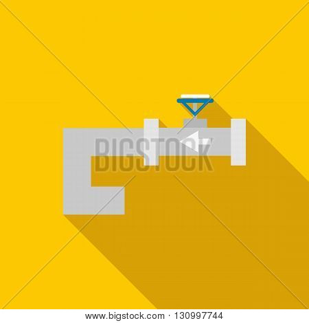 Steel pipeline with red valve icon in flat style on a yellow background