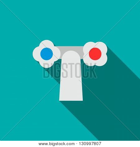 Water tap with white knobs icon in flat style on a turquoise background