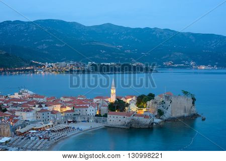 Aerial View of Night Old Budva. Montenegro, Balkans, Europe. Budva - One of the Most Popular Resorts of Adriatic Riviera of the Mediterranean