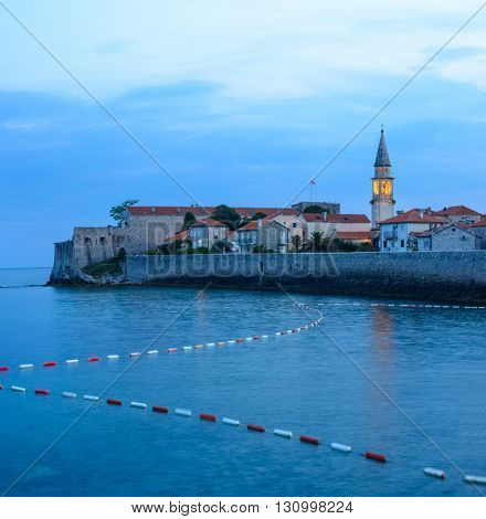Mystery Evening in Old Town of Budva. Montenegro, Balkans, Europe. Budva - One of the Most Popular Resorts of Adriatic Riviera of the Mediterranean