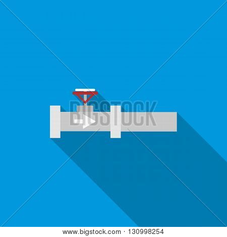 Steel pipeline with red valve icon in flat style on a blue background