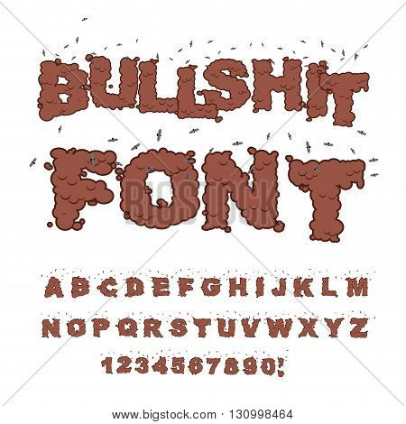 Bullshit Font. Alphabet Of Poop With Flies. Shit Alphabet And Insects. Bad Smell Text