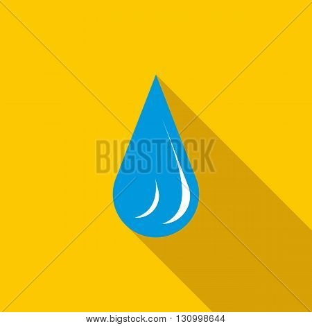 Water drop icon in flat style on a yellow background
