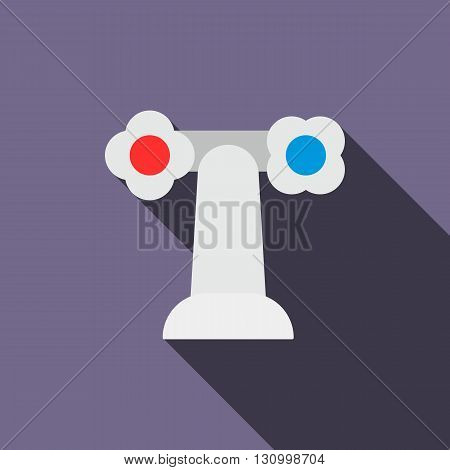 Water tap icon in flat style on a violet background