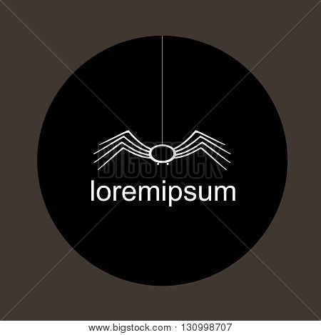 Emblem with a spider on a web on a black circle or a company logo