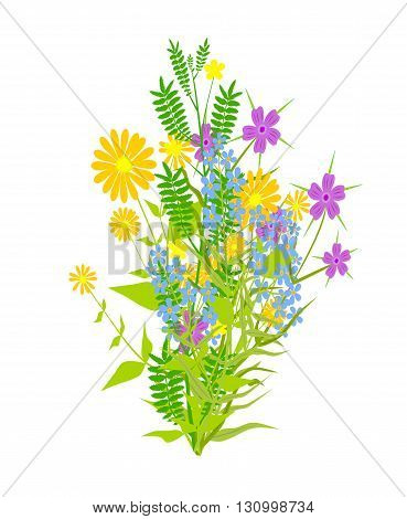 Bunch of flowers - abstract vector illustration.