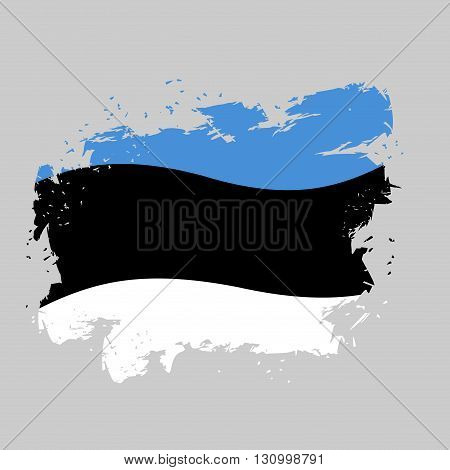 Estonia Flag Grunge. Brush Strokes And Ink Splatter. National Symbol Of Estonian State