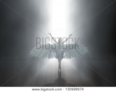angel before open door to heaven, 3d illustration