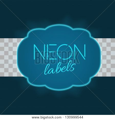 Vintage electric frame with bright neon lights. Blue metallic neon light with transparent glow. A part four of collection. Colorful vintage label in traditional old style design. Vector illustration