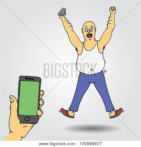 Excited  man celebrating success with hands raised. Sns winner. Hand drawn vector stock illustration