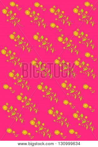 Floral pattern with orange flowers - vector illustration.
