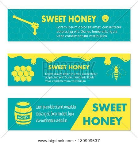Honey banner for exhibitions, posters and other, vector illustration