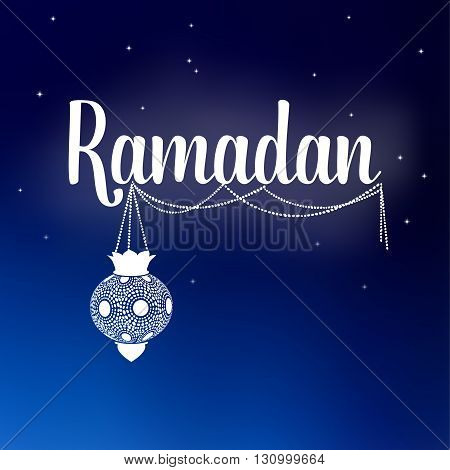 Card with Ramadan text and arabic lantern. Night sky with stars. Invitation for muslim holy month Ramadan Kareem. Stock vector background.