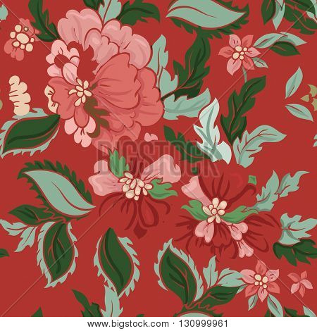 Beautiful floral seamless pattern . Composition with flowers on red. Vector background.