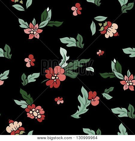 Beautiful floral seamless pattern . Floral composition on black. Vector background.