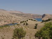 stock photo of euphrates river  - view to euphrates river nothern mesopotamia eastern turkey - JPG