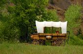 picture of wild west  - old western style covered wagon taken in south dakota - JPG
