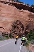 Cyclists In Monument poster