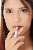image of electronic cigarette  - Young woman smoking electronic cigarette  - JPG