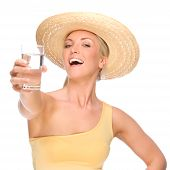 picture of full cheeks  - Full isolated portrait of a beautiful woman with glass of water - JPG