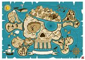 picture of cannibal  - Map of  treasure island in the shape of skull and bones. Use the X in the lower right corner to mark the place of the treasure.