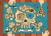 image of treasure map  - Map of  treasure island in the shape of skull and bones - JPG