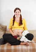 9 Months Pregnant Woman Is Knitting