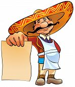 picture of mexican  - Happy Mexican cook holds in hand a blank sheet of paper - JPG