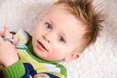 foto of happy baby boy  - Happy baby boy  - JPG