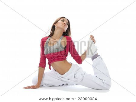 Pretty Flexible Dancer Woman Sit On Half Twine And Stretching