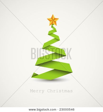 Simple vector christmas tree made from paper stripe - original new year card