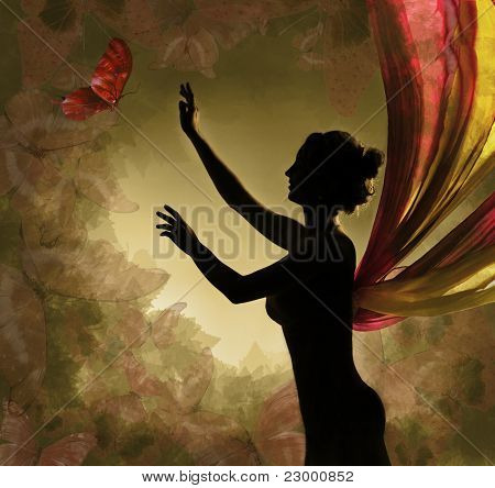 Silhouette Of Sexy Naked Woman With Wings Catching Butterfly.  Vintage Background